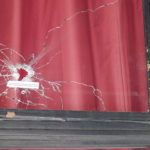 A bullet hole in the front window of the Bataclan Cafe, Paris. ©BBC