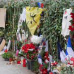 A shrine to the dead opposite the Bataclan, Paris. ©BBC