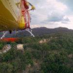 Helicóptero acercándose al area del accidente