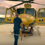 Preparándose para abordar helicóptero