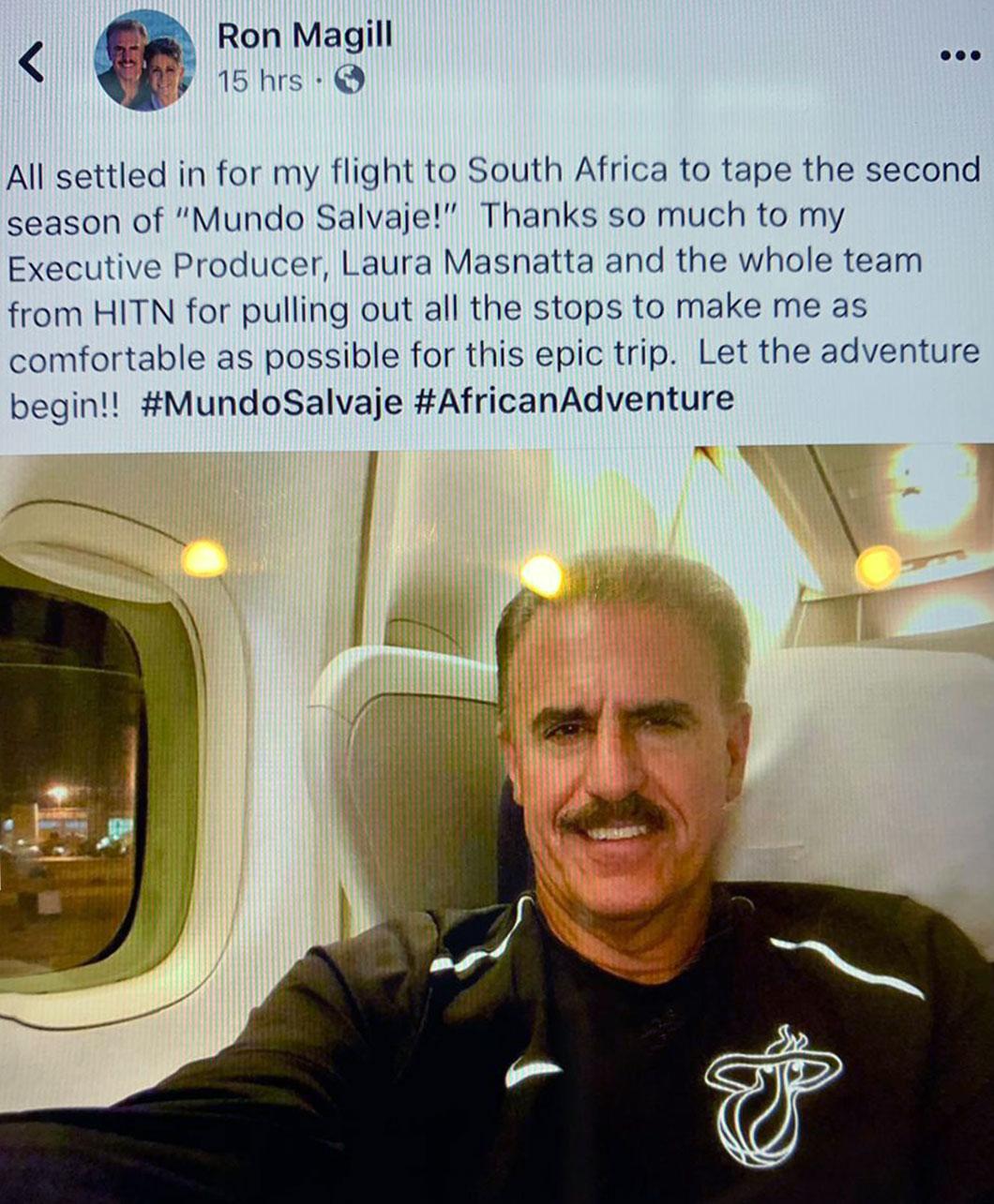 Ron Magill comparte su emoción con sus fans en redes sociales de viajar a Africa para grabar Mundo Salvaje