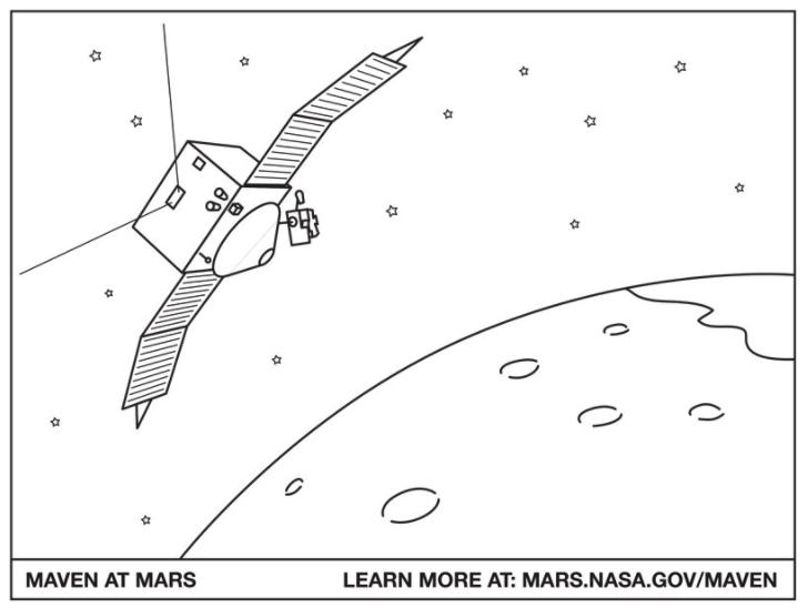 Mars Curiosity Rover, Hoja para colorear