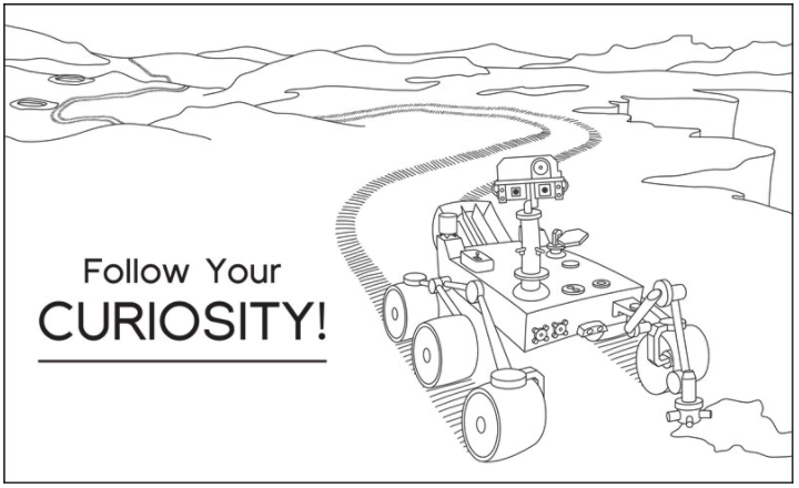 Dibuja al rover Curiosity trabajando juntos en Marte