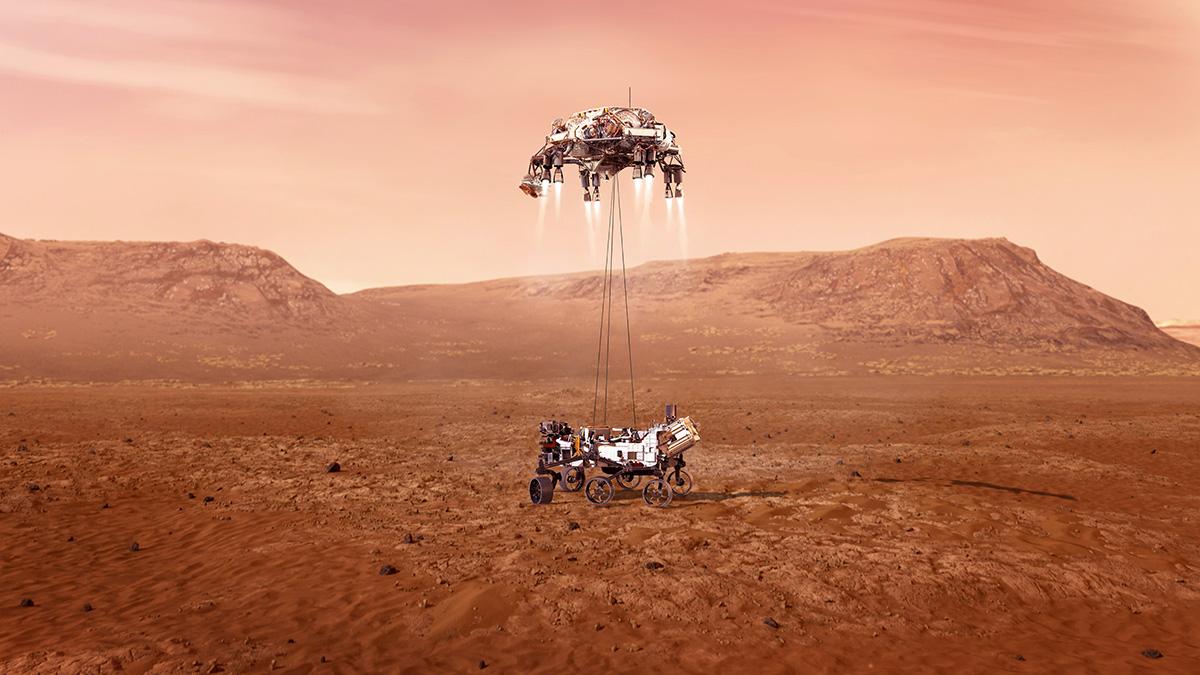 Ilustración del Perseverance aterrizando en Marte