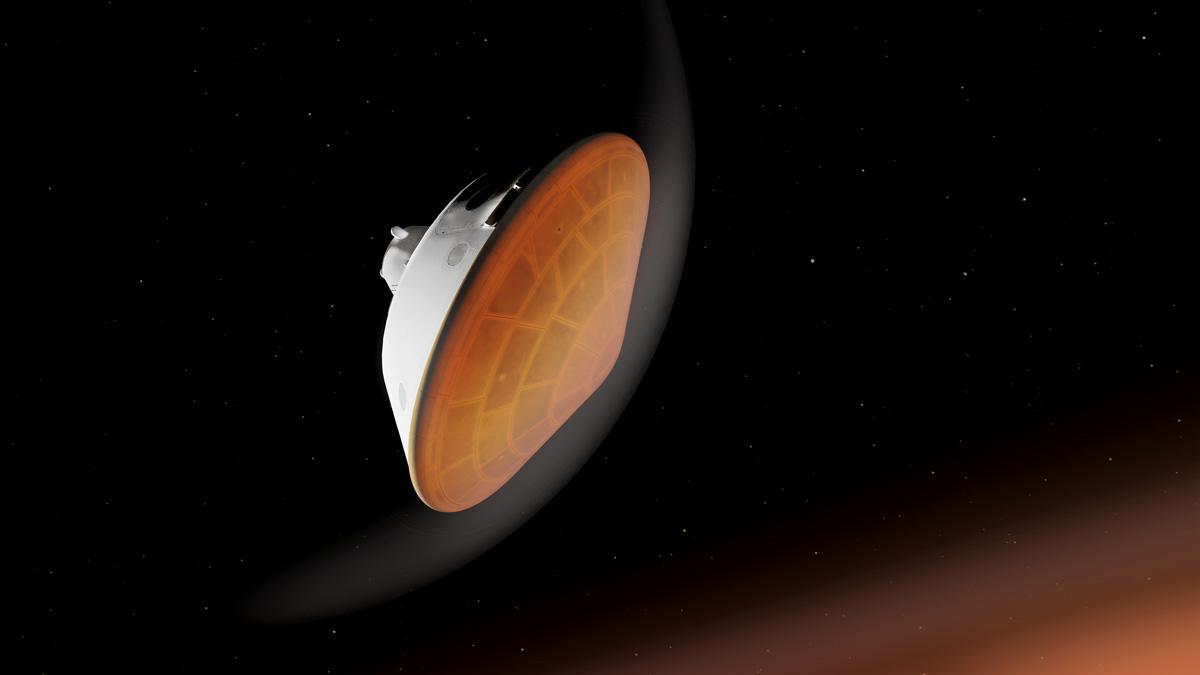 Perseverance entrando en la atmósfera de Marte